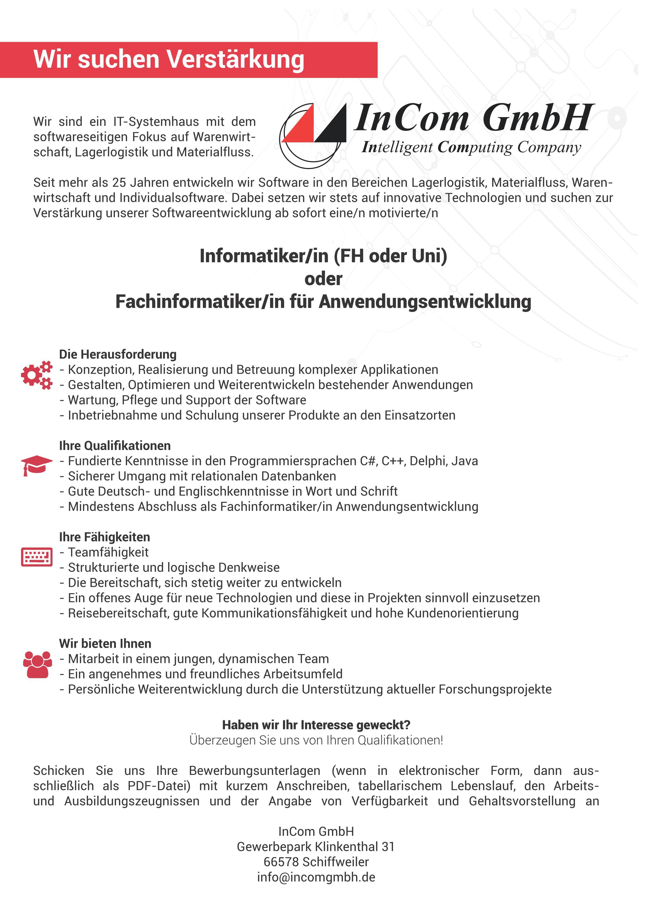 Softwareentwickler Gesucht – In GmbH
